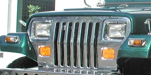 enjoliveur de calandre pour jeep wrangler yj de 87 95 inox pi ces 4x4 et accessoires. Black Bedroom Furniture Sets. Home Design Ideas